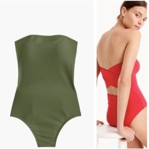 J. Crew Cross-Back Bandeau Swimsuit